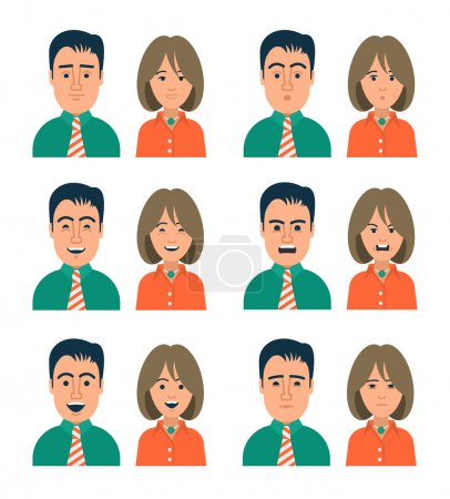 Illustration for Collection of icons of people in modern flat style with different facial expressions. Perfect to use as personal avatar on forums, blogs or web applications. - Royalty Free Image