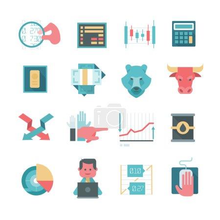 Illustration pour Icônes modernes dans le style de conception plate des actions de négociation en ligne, le financement et faire des investissements - image libre de droit