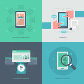 Collection of concept icons in flat design style of how to optimize website for mobile The collection includes: responsive web design clear code diagnostic test and perfect readability