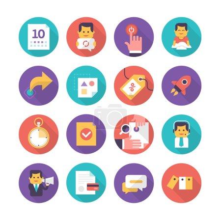 Illustration pour Icônes modernes dans le style plat des événements d'affaires, le service à la clientèle, le commerce. Collection d'icônes plates isolées sur fond blanc - image libre de droit