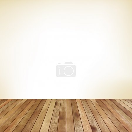 Empty room with wall and wooden floor. EPS 10