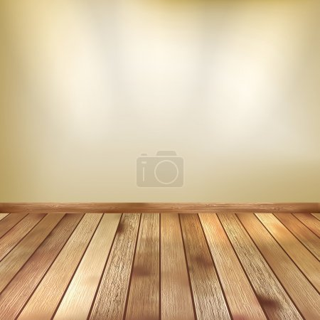 Illustration for Empty beige wall with spot lights and wooden floor. EPS 10 vector - Royalty Free Image