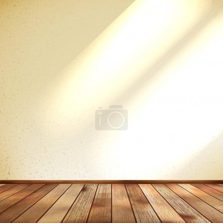 Illustration for Empty beige wall and wooden floor room. EPS 10 vector - Royalty Free Image