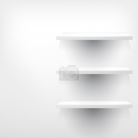 Empty white wooden shelf at the wall.
