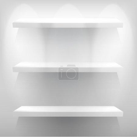Empty white shelf for exhibit with light. + EPS10