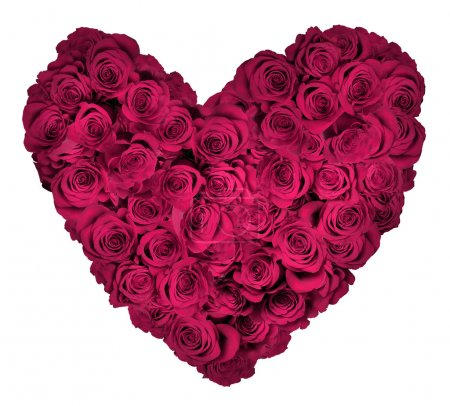 Heart Shaped Bouquet of Roses Over White Background