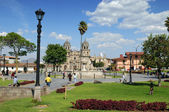The Plaza de Armas in Cajamarca Peru