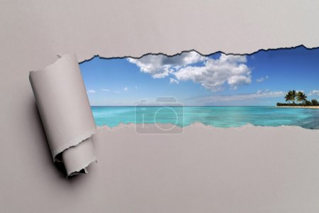 Torn Paper With Caribbean background