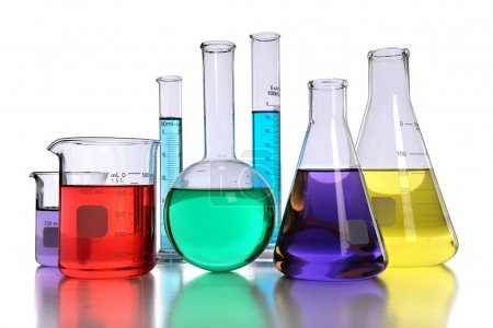Laboratory Glassware With Liquids