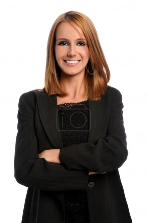 Photo for Young businesswoman with arms crossed isolated over white background - Royalty Free Image