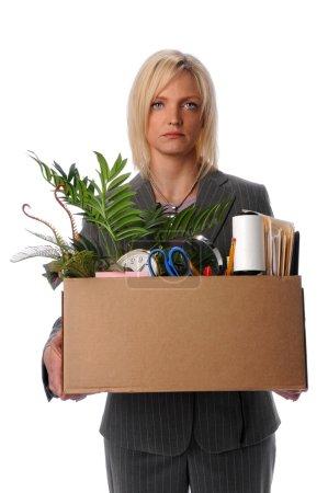 Woman Carrying Belongings in Box