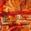 Abstract oil painting in reds and yellows...