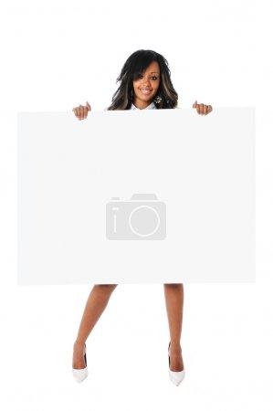 BEautiful Woman Holding Blank Sign