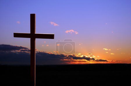 Photo for Colorful sunset with cross - Royalty Free Image