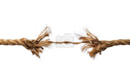 Photo for Frayed rope about to break isolated over a white background - Royalty Free Image