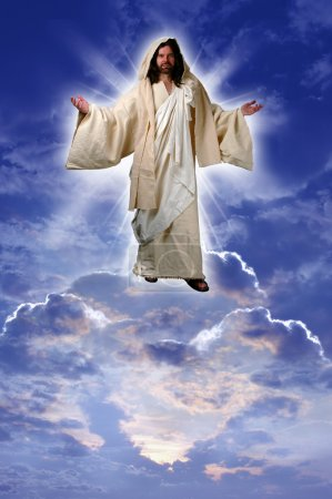 Photo for Jesus on a cloud taken up to heaven after his resurrection according to Acts chapter 1 - Royalty Free Image