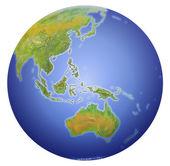 Země ukazuje, Austrálie, Nový Zéland, Asie a jižní pól