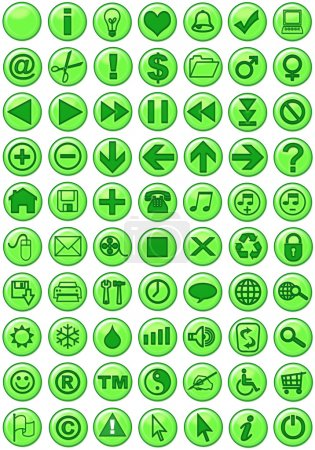 Photo pour Icônes Web en vert - image libre de droit
