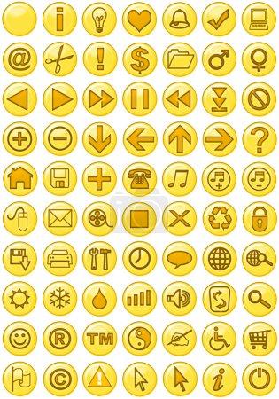 Photo pour Illustrations d'icônes Web en jaune - image libre de droit