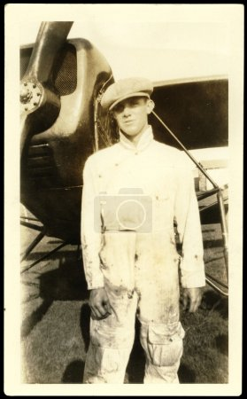 Vintage Photo With Airplane Mechanic