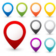 Set of vector round 3D map pointers, 9 colors...