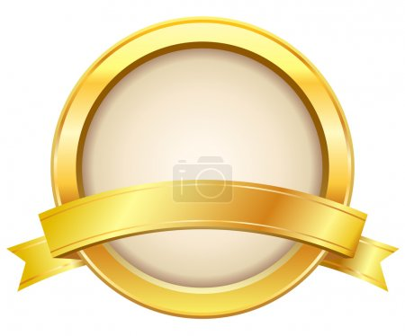 Illustration for Golden label with ribbon on white background - Royalty Free Image
