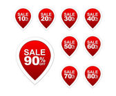 Icon set of vector round red sale tags isolated on white background