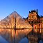 Louvre Museum at Night, Paris...