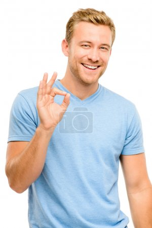 Happy man okay sign - portrait on white background