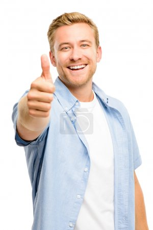 Attractive young man thumbs up full length on white background