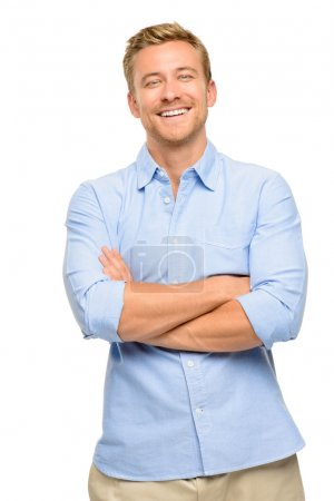 Photo for Attractive young man with arms folded on white background - Royalty Free Image
