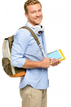 Confident young student back to school on white background