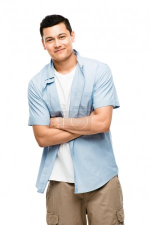 Attractive Asian man smiling on white background