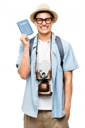 Latin American tourist geek isolated on white background