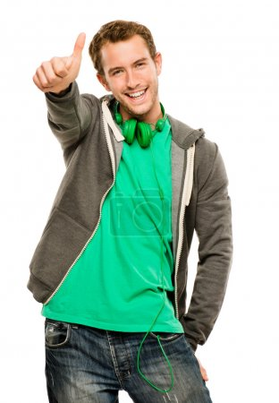 Photo for Happy young cuacasian man giving thymbs up sign white background - Royalty Free Image