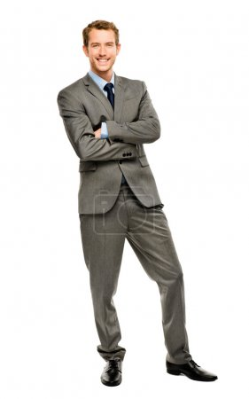 Full length of successful businessman on white background