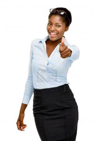Attractive African American businesswoman thumbs up on white bac