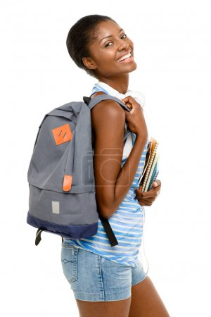 Successful African American student woman going back to school