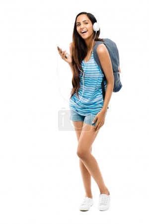 Photo for Full length young Indian teenage schoolgirl white background - Royalty Free Image