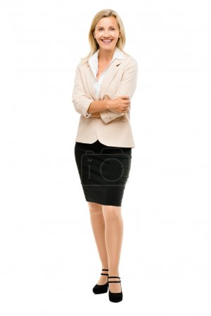 Mature business woman smiling full length portrait isolated on w