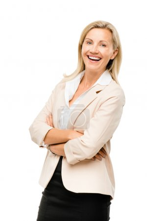 Photo for Portrait of happy Mature business woman middle aged woman smiling isolated on white background - Royalty Free Image