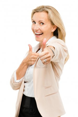 Mature woman giving thumbs up sign isolated on white background