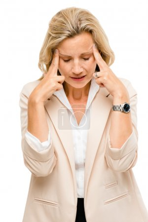 Mature woman has headache isolated on white backgr...