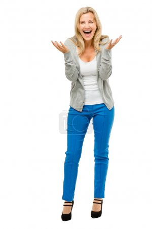 Happy mature woman is excited isolated on white background