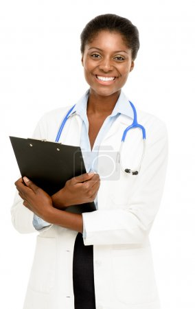 Portrait confident African American female doctor white background