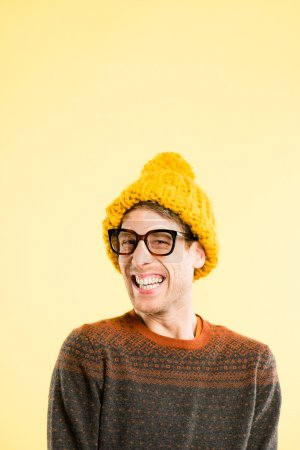 funny man portrait real high definition yellow background