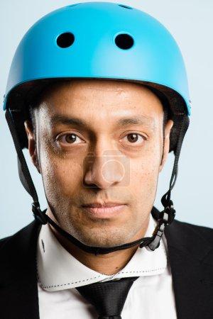 funny man wearing cycling helmet portrait real high defin
