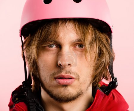 funny man portrait pink background real high definition