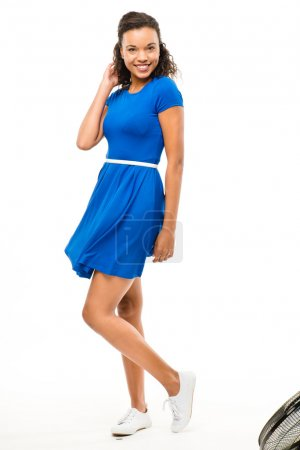 Beautiful mixed race woman dancing sexy blue dress isolated on w