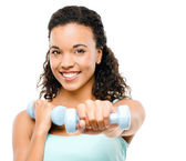 Healthy young mixed race woman exercising isolated on white back